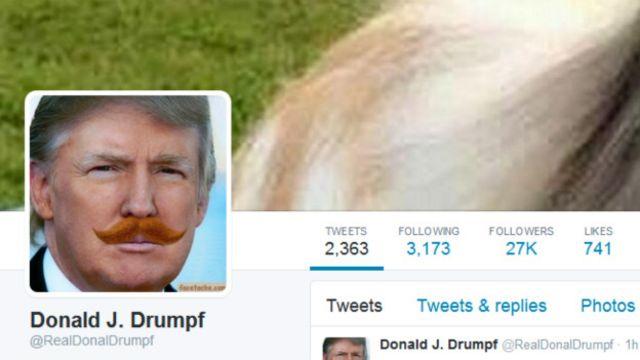 Cuenta de Donald Drumpf en Twitter