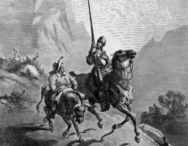 Grabado de Quijote y Sancho