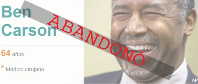 Ben Carson, abandono