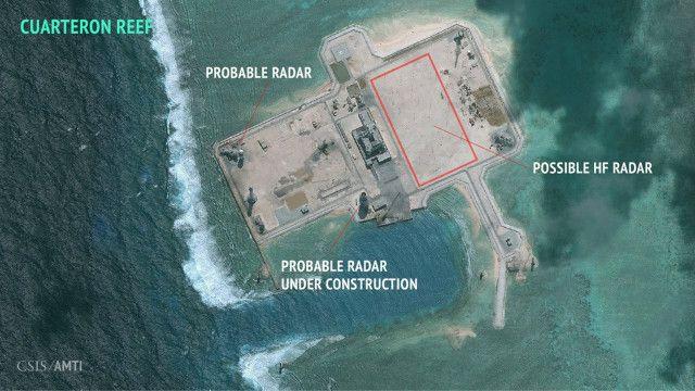 Chương trình Sáng kiến Minh bạch Hàng hải châu Á (AMTI) của CSIS công bố hình ảnh chụp các đảo mà Trung Quốc đang cải tạo và cho biết một số vị trí có thể là radar tại khu vực Trường Sa