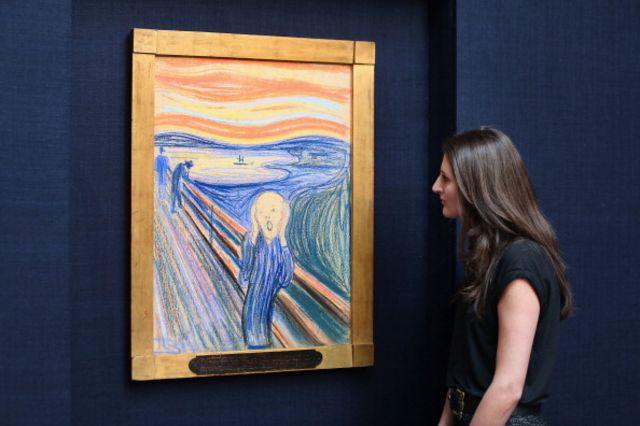 2012年,1895年創作的板上粉彩版《吶喊》在紐約蘇富比拍賣行拍出近1.2億美元(7500萬英鎊)的天價 (圖片來源:Getty)
