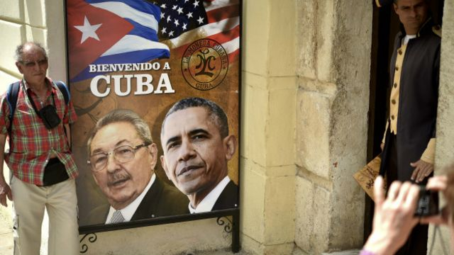 """Гавана встречает Обаму плакатами """"Добро пожаловать на Кубу"""""""