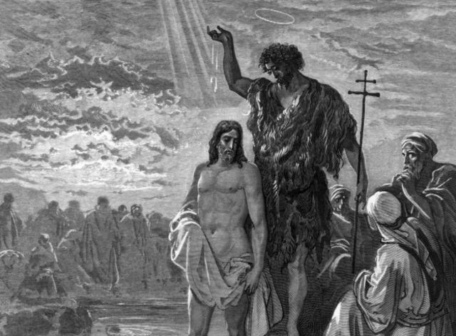 El bautismo de Juan, grabado de Dore