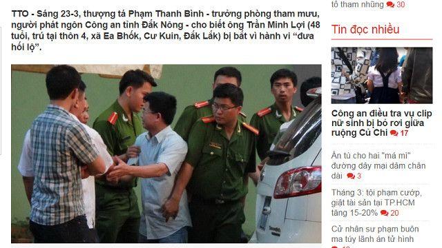 Báo trong nước đưa tin ông Trần Minh Lợi bị bắt 'vì hành vi đưa hối lộ'