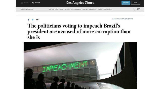 """""""Os políticos que votam o impeachment da presidente do Brasil são acusados de mais corrupção do que ela"""", diz publicação dos EUA"""