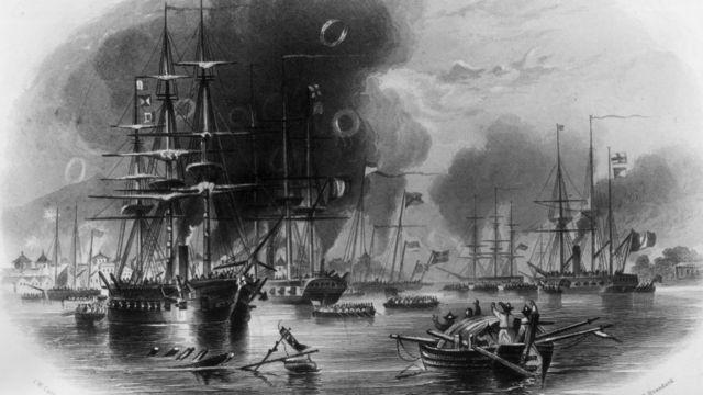 描繪第一次鴉片戰爭中廣州受英軍轟炸的畫作