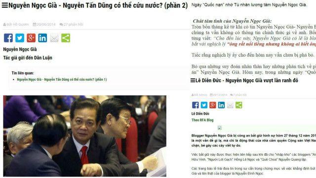 Một bài viết của blogger Nguyễn Ngọc Già (trái) và hai bài về ông trên mạng