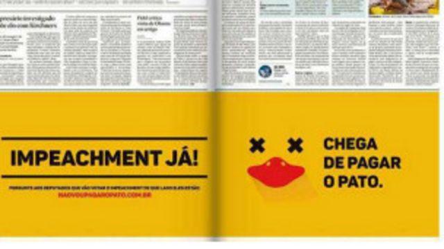 Campanha foi veiculada também em anúncios de jornais