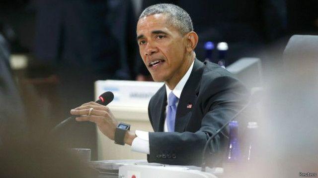 奧巴馬說,所謂的伊斯蘭國取得核武器「是對全球安全最大的威脅」。