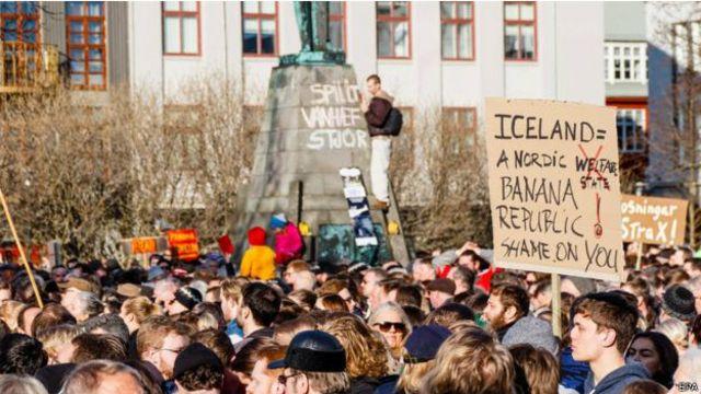 La protesta contra el primer ministro que tuvo lugar el lunes.