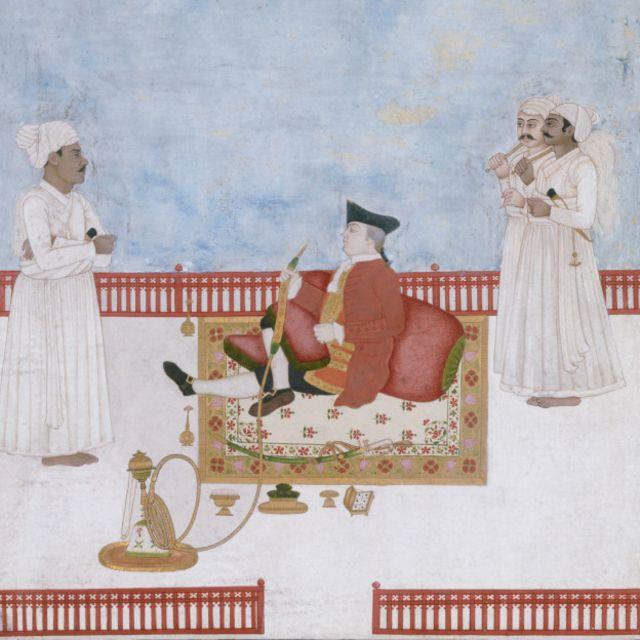 Un oficial de la East India Company fumando una pipa