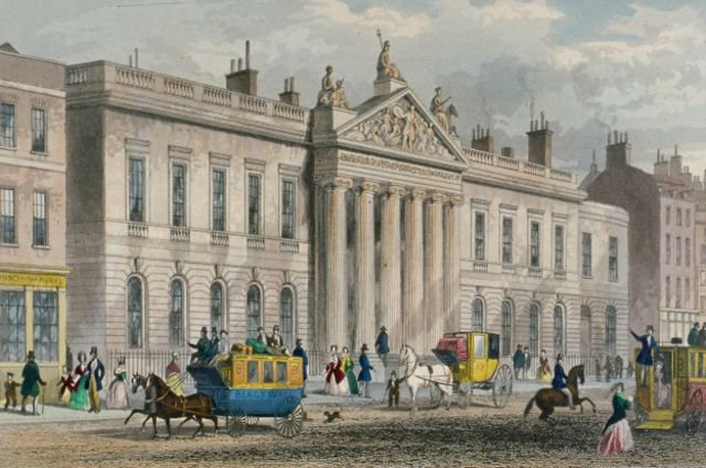 El edificio de la East India Company a mediados del siglo XIX