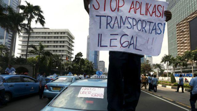 Protesta de Uber en Indonesia