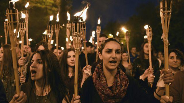 مراسم بزرگداشت کشتار ارامنه در ایروان