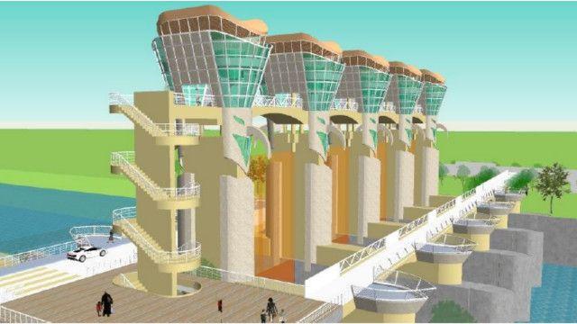 Mô hình của cửa nước Si Song Rak để điều khiển nước từ sông Mekong vào nếu Thái Lan quyết định lấy nước