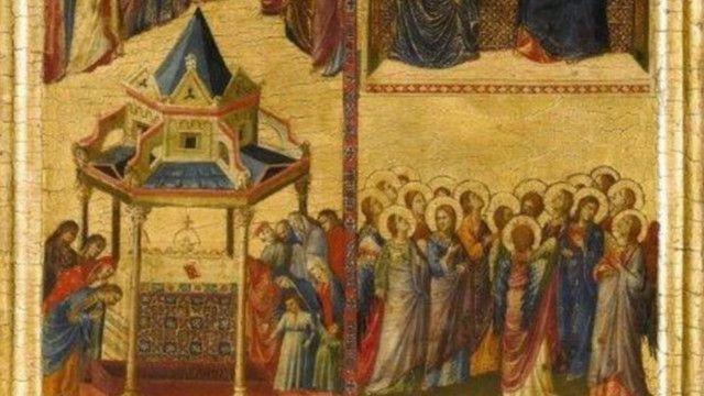 الجانب الأيسر لإحدى اللوحات الدينية المزدوجة تعود إلى القرن الرابع عشر