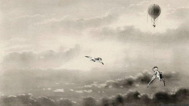 Когда Глейшер выпустил голубей из корзины, они камнем рухнули вниз
