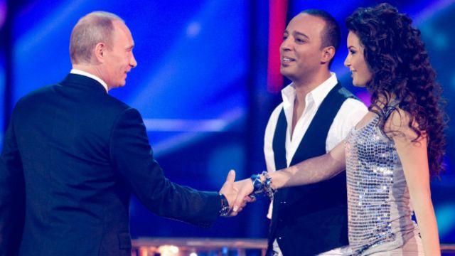 Putin en un ensayo de Eurovision en 2009