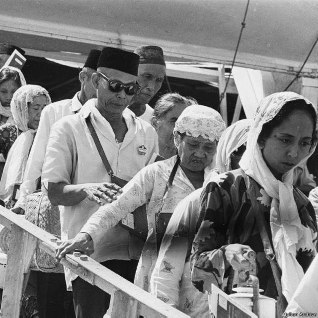 Calon jemaah haji Indonesia tiba di kota Mekkah, Saudi Arabia, Agustus 1968.