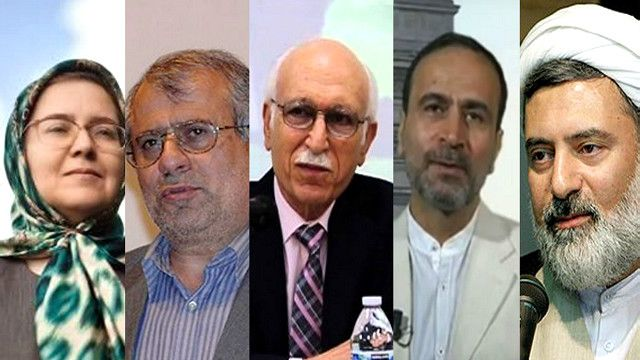 از چپ: صدیقه وسمقی، حسن یوسفی اشکوری، عبدالعلی بازرگان، حسن فرشتیان و محسن کدیور
