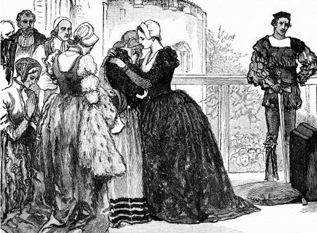 Sus damas, llorando, la ayudaron a prepararse y luego se encargaron de sus restos.