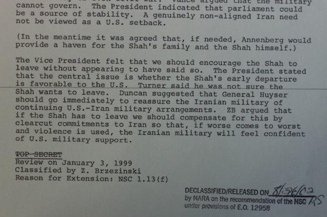 """بنا به این سند کارتر به مشاورانش گفت که یک  ایران """"حقیقتا غیرمتعهد"""" که به هیچیک از بلوکهای قدرت جهانی وابستگی نداشته باشد """"نباید برای آمریکا ناکامی تلقی شود."""""""