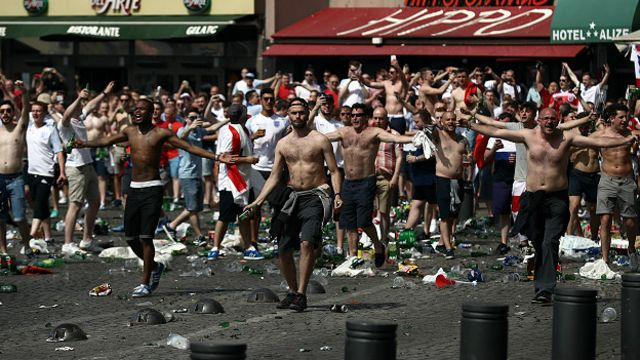 Fans during clashes in Marseille