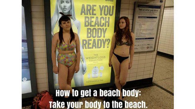 Bu reklam plakatına etiraz kampaniyası #everybodyisready (bütün bədənlər hazırdır) heşteqi yaratmış, narazı qızların aksiya keçirməsinə səbəb olmuşdu