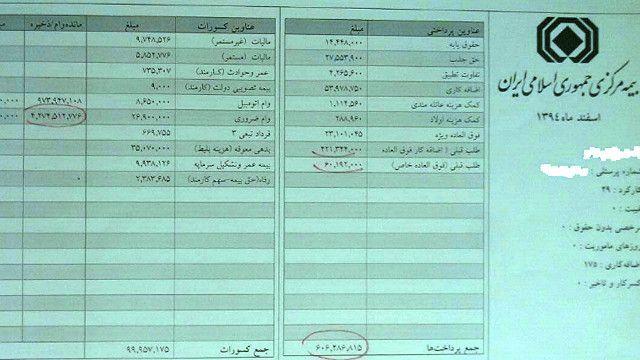 خبرگزاری قوه قضاییه ایران تصاویر فیشهای حقوقی مدیران بیمه مرکزی را منتشر کرد