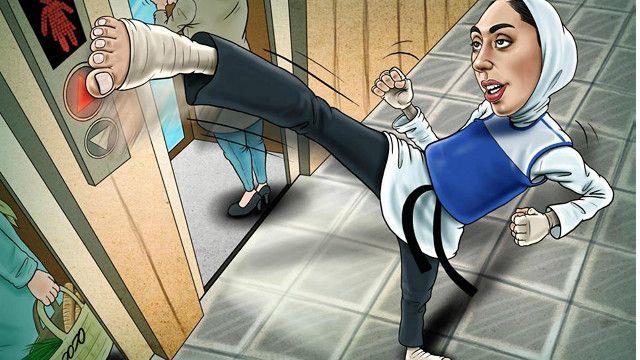 کیمیا علیزاده و آسانسور زنان - کارتون محمد طحانی، همدلی