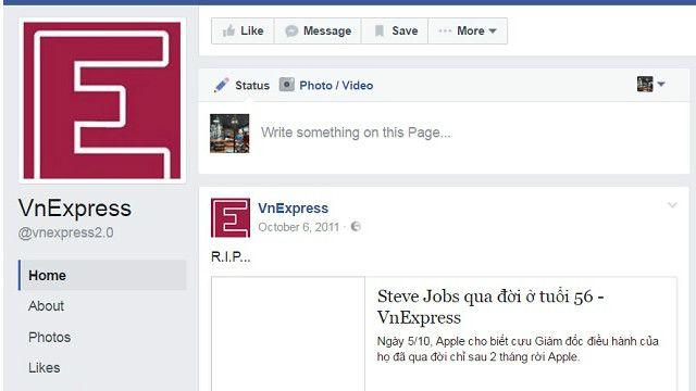 Fanpage của VnExpress hiện chỉ còn hiển thị các post từ năm 2011
