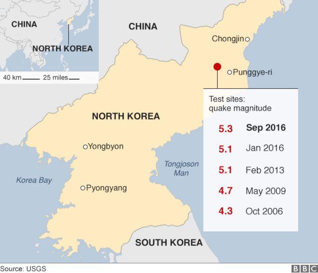 Badan Geologi AS mencatat kekuatan gempa di sekitar lokasi uji coba nuklir Korea Utara.