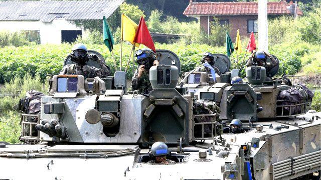 Militer Korsel bersiaga dekat perbatasan Korut sejak Perang Korea pada era 1950-an.
