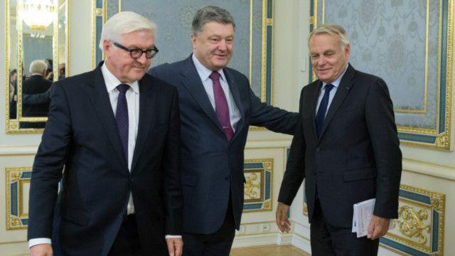 Петро Порошенко зустрівся із Франком-Вальтером Штайнмаєром і Жаном-Марком Еро у Києві