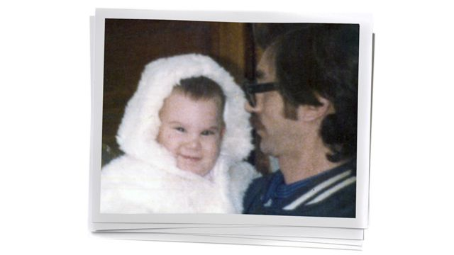 Paula as a baby and her father