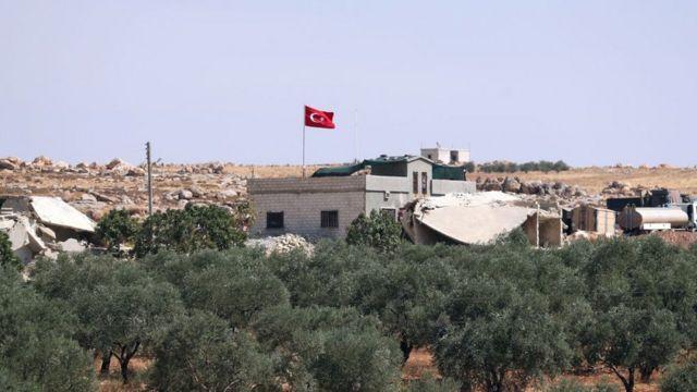 İdlib'deki Maar Hitat yakınında bulunan Türk gözlem noktası