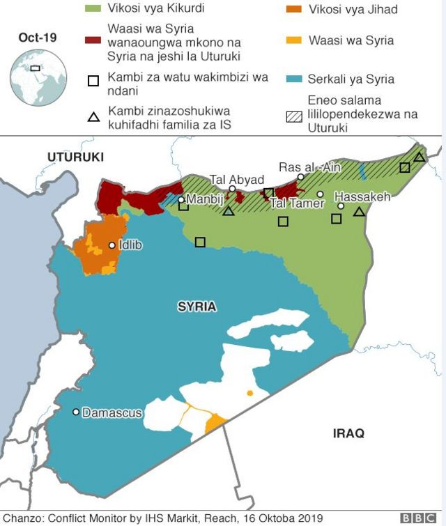 Ramani inayoonyesha mzozo wa Syria