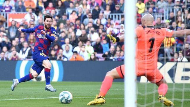 Lionel Messi akifunga goli