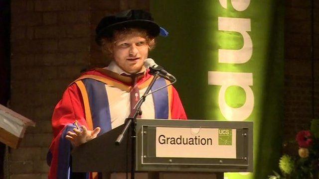 Ed Sheeran collecting his honorary degree