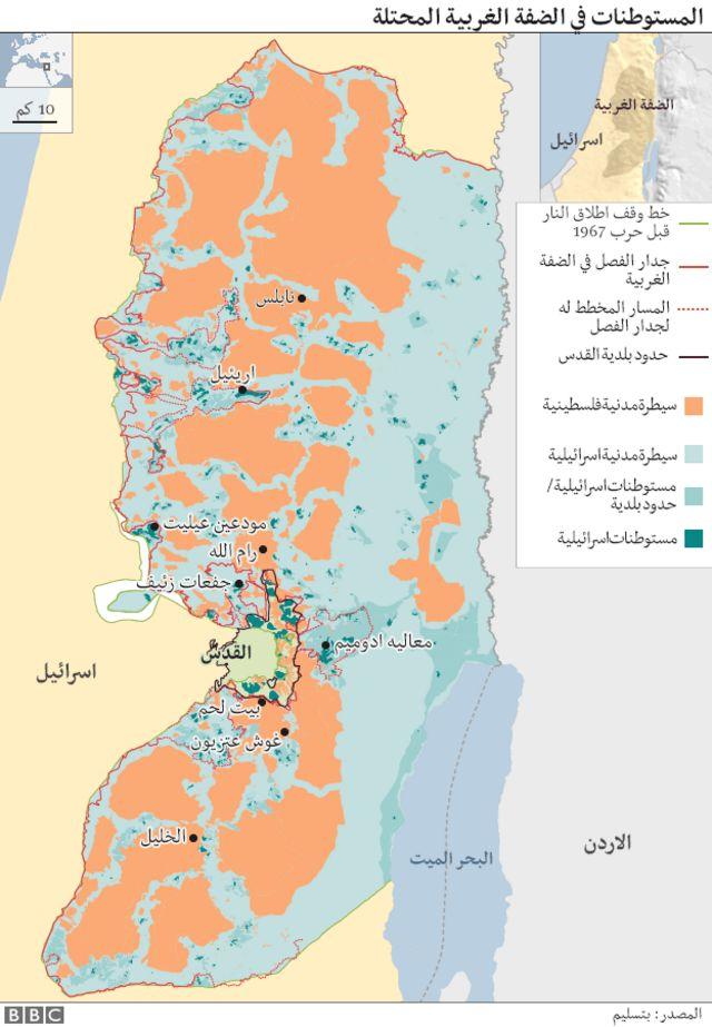 خريطة توضح انتشار المستوطنات في الضفة الغربية المحتلة