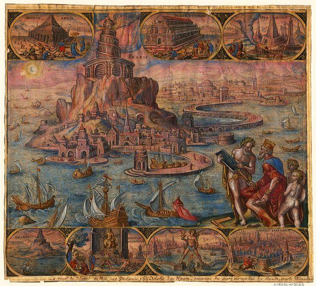 Pintura antiga mostrando o farol de Alexandria