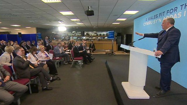Andrew RT Davies speaks at the 2018 Welsh Conservative conference
