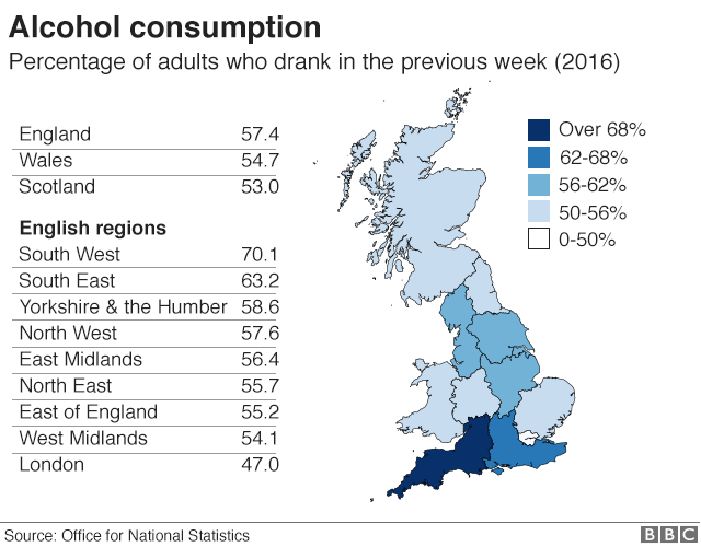 Map of Great Britain with regions colour coded according to highest percentage of adults who said they drank in the last week in 2016.