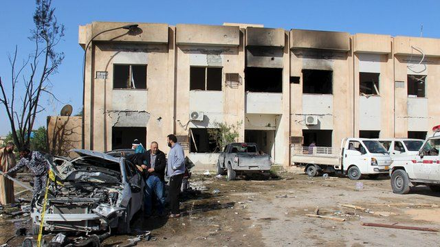 The scene of the explosion at the Police Training Centre in the town of Zliten, Libya.