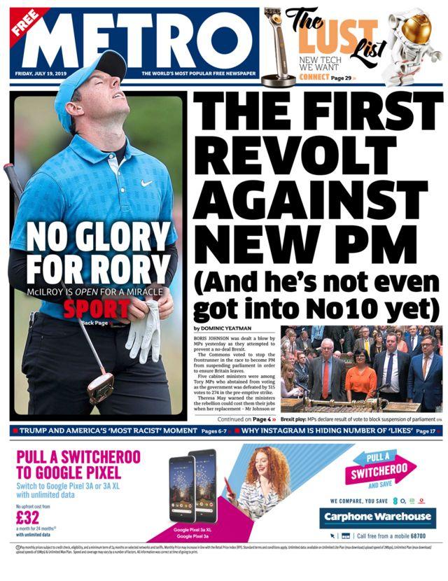 Newspaper headlines: Brexit 'day of drama' and Ryanair strike threat