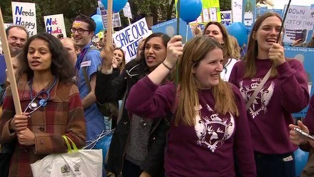Junior doctors protesting over contracts