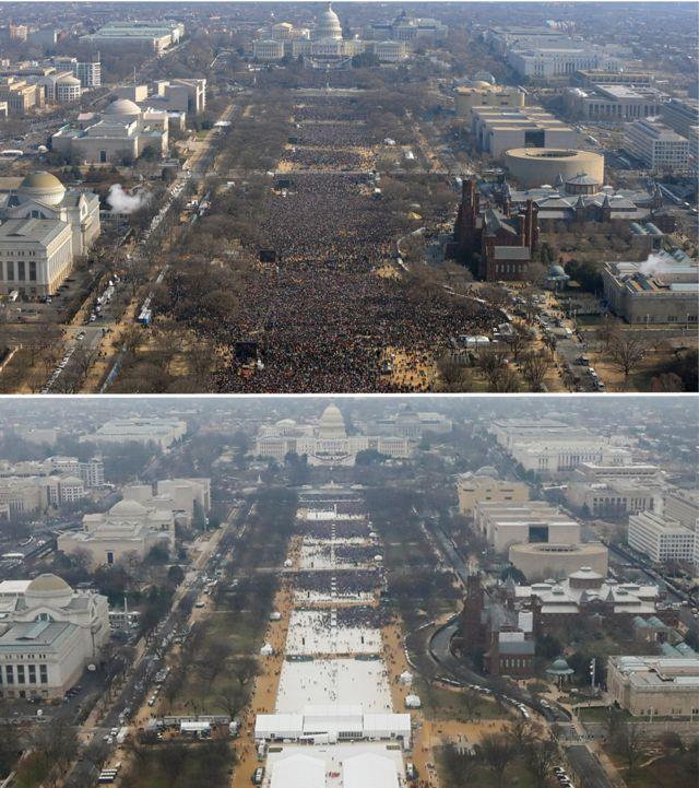 Trump's @POTUS Twitter account used Obama crowd image