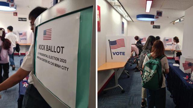 Các bạn trẻ thử bỏ phiếu bầu cử giả định tại Trung tâm Hoa Kỳ, TP HCM, Việt Nam