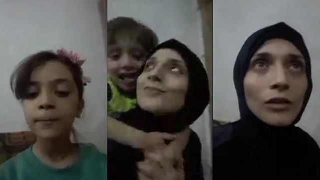 A three-part composite from a BBC video call, showing Bana, Fatemah, and Noor
