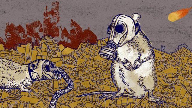 Ilustração de ratos com máscara contra poluição